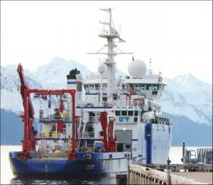 Photo of R/V Sikuliaq at the dock in Seward Alaska