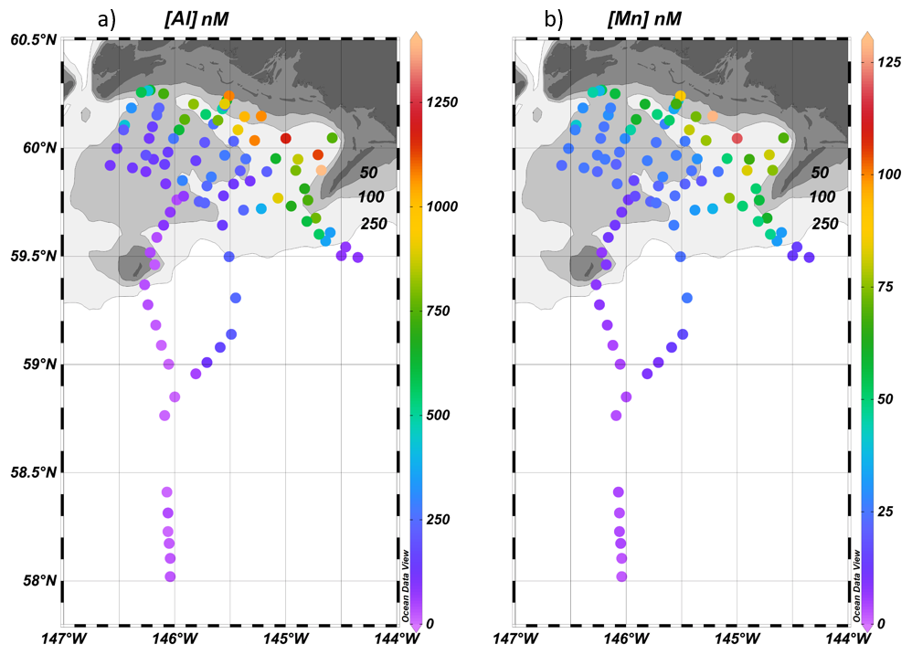 Al and Mn concentrations in the Gulf of Alaska
